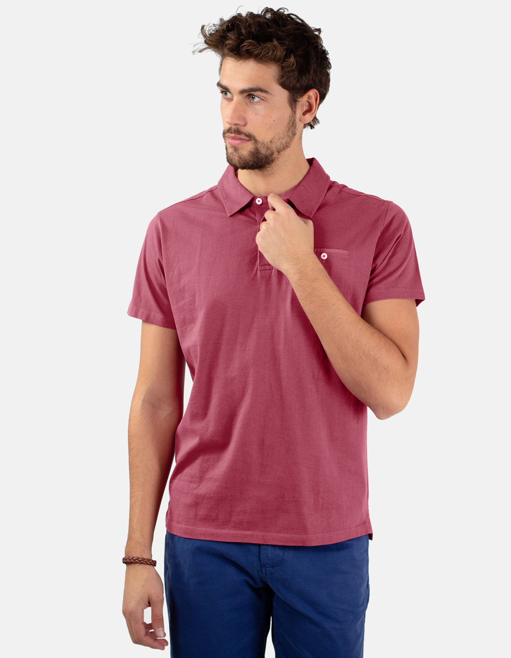 Maroon pocket polo shirt
