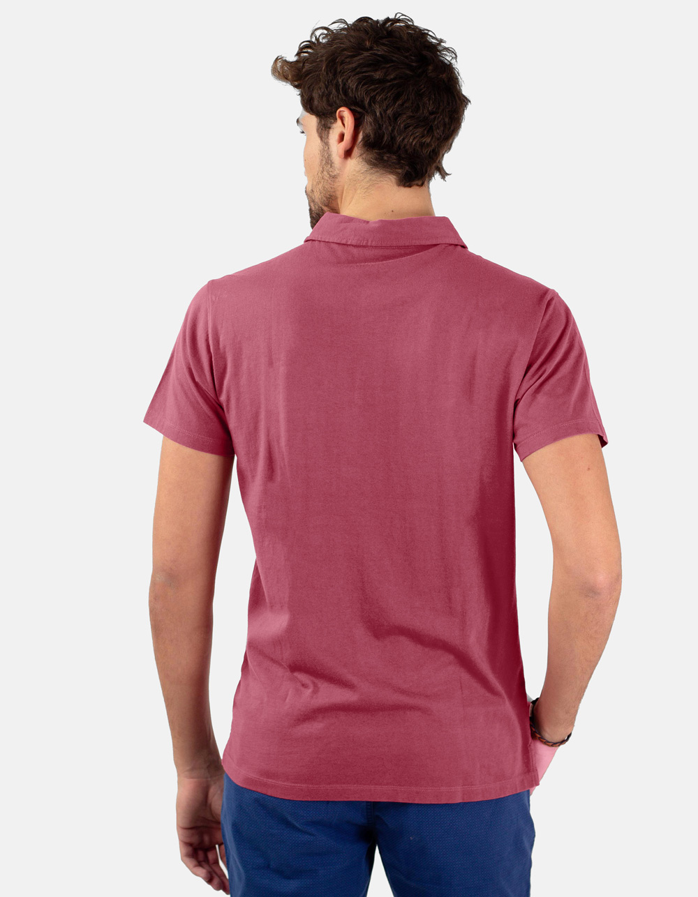 Maroon pocket polo shirt - Backside