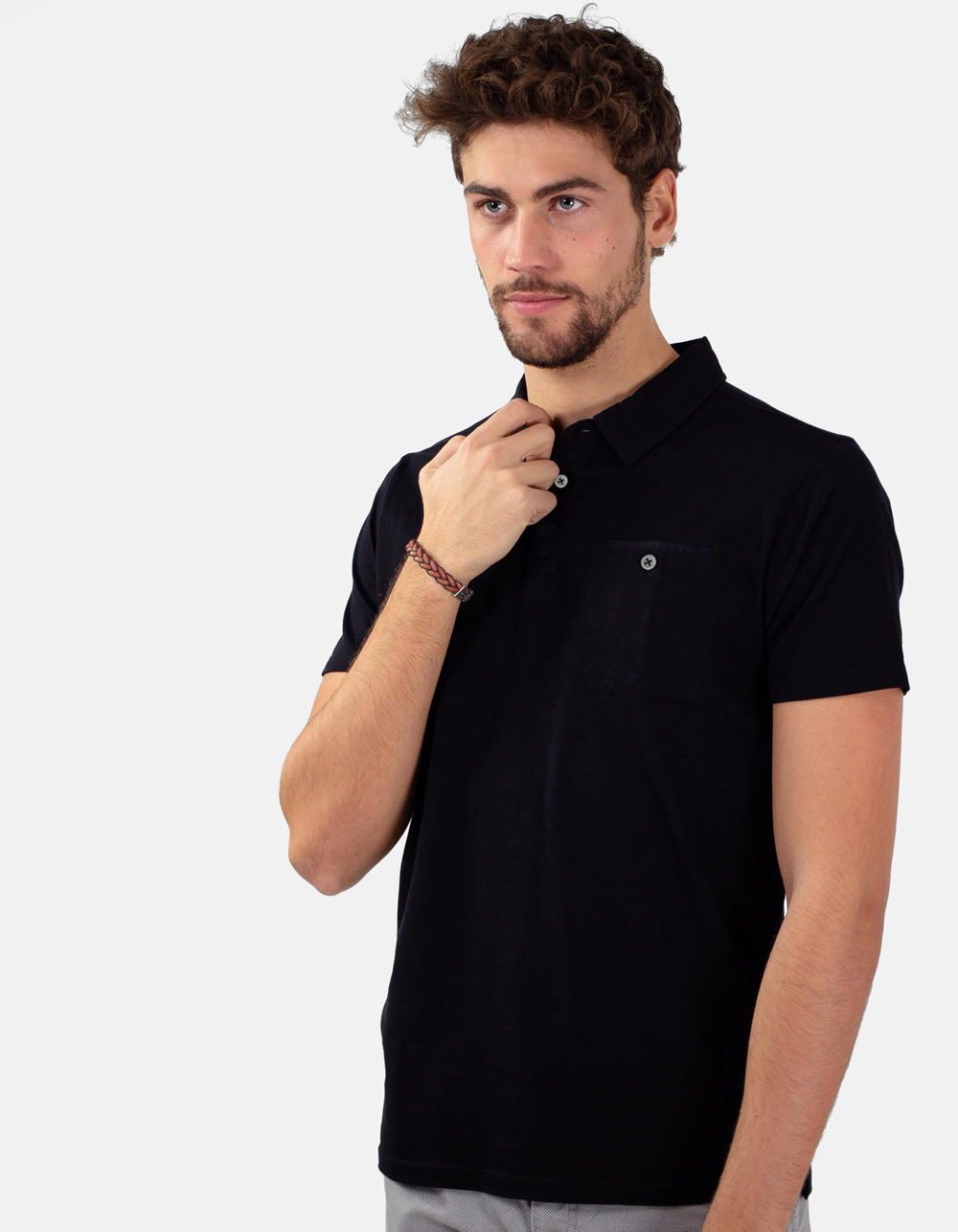 Black pocket polo shirt