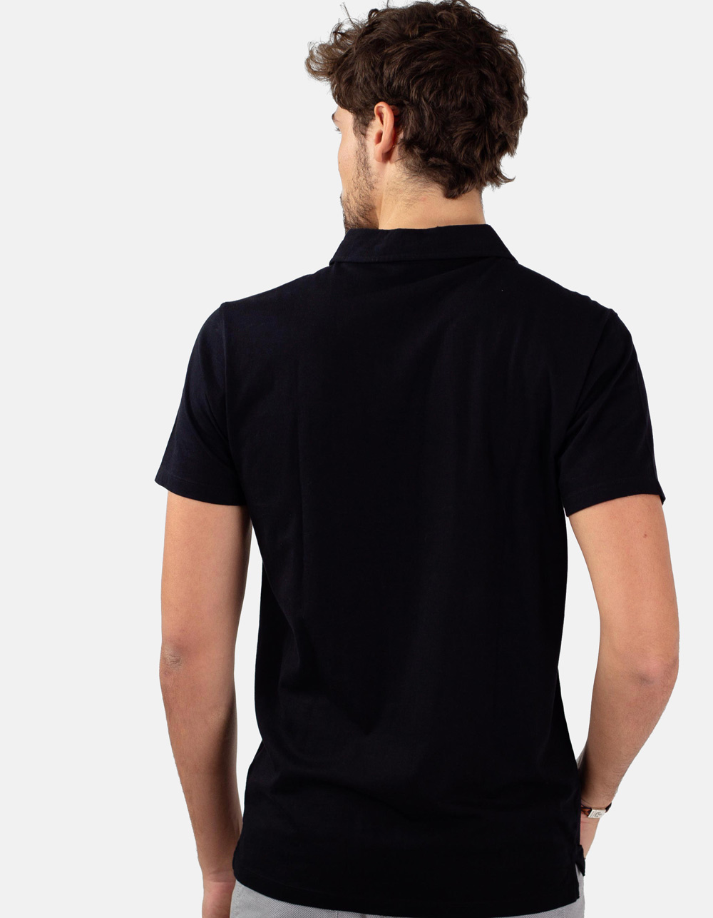 Black pocket polo shirt - Backside