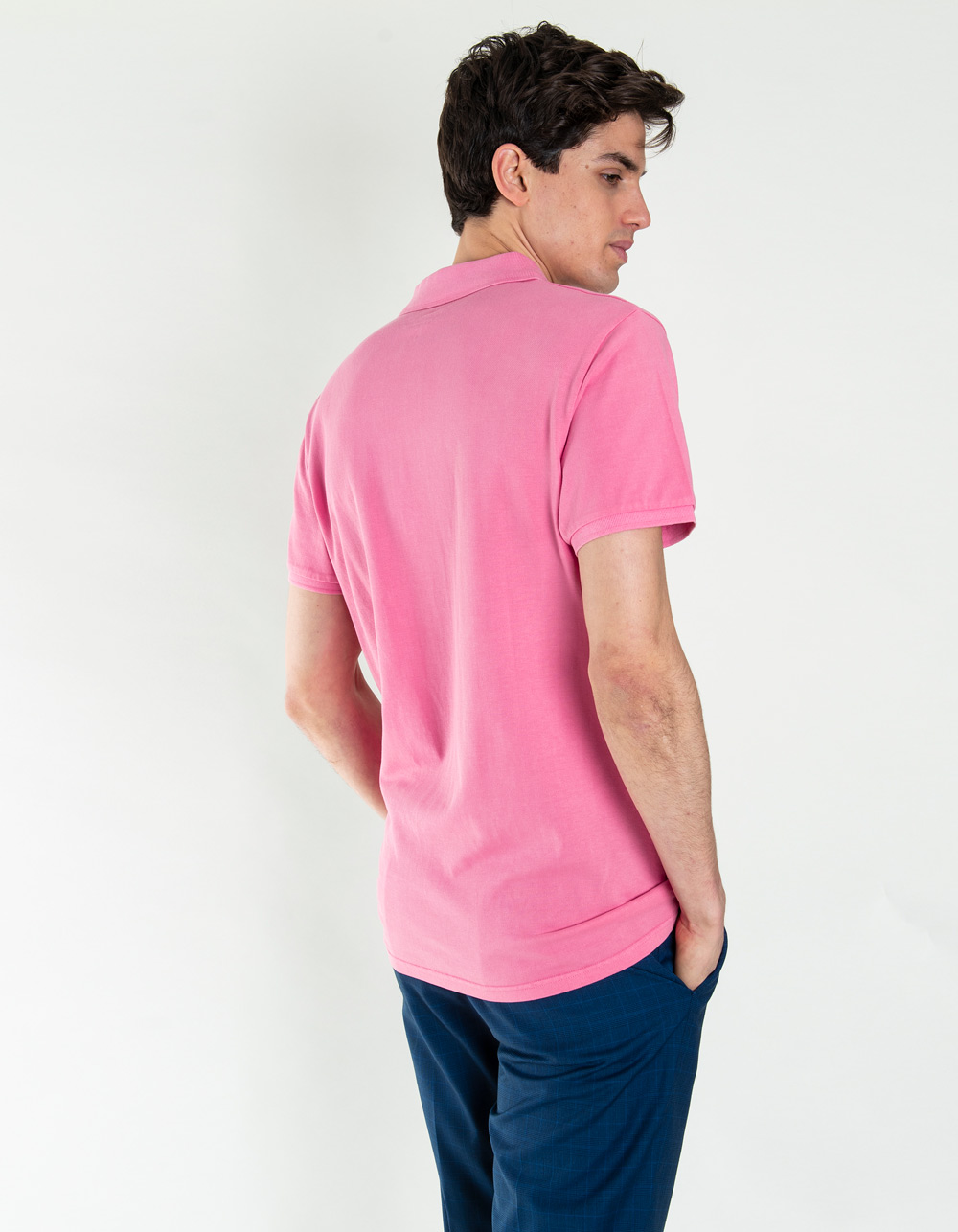Pink fluoride piqué polo shirt - Backside