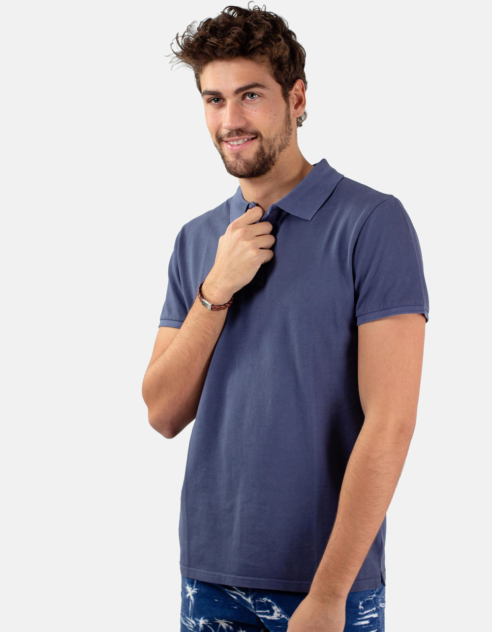 Night blue basic piqué polo shirt