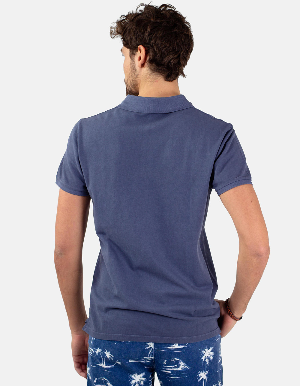 Night blue basic piqué polo shirt - Backside