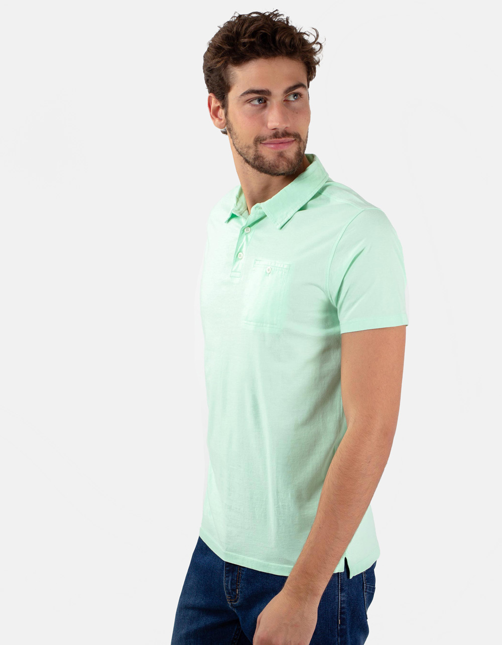 Light green pocket polo shirt