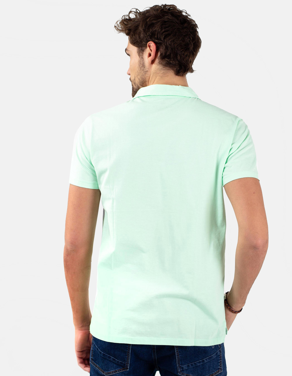 Light green pocket polo shirt - Backside