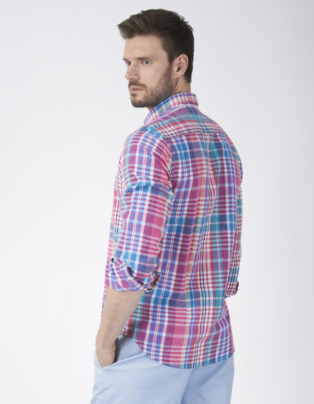 Checked linen shirt - Backside