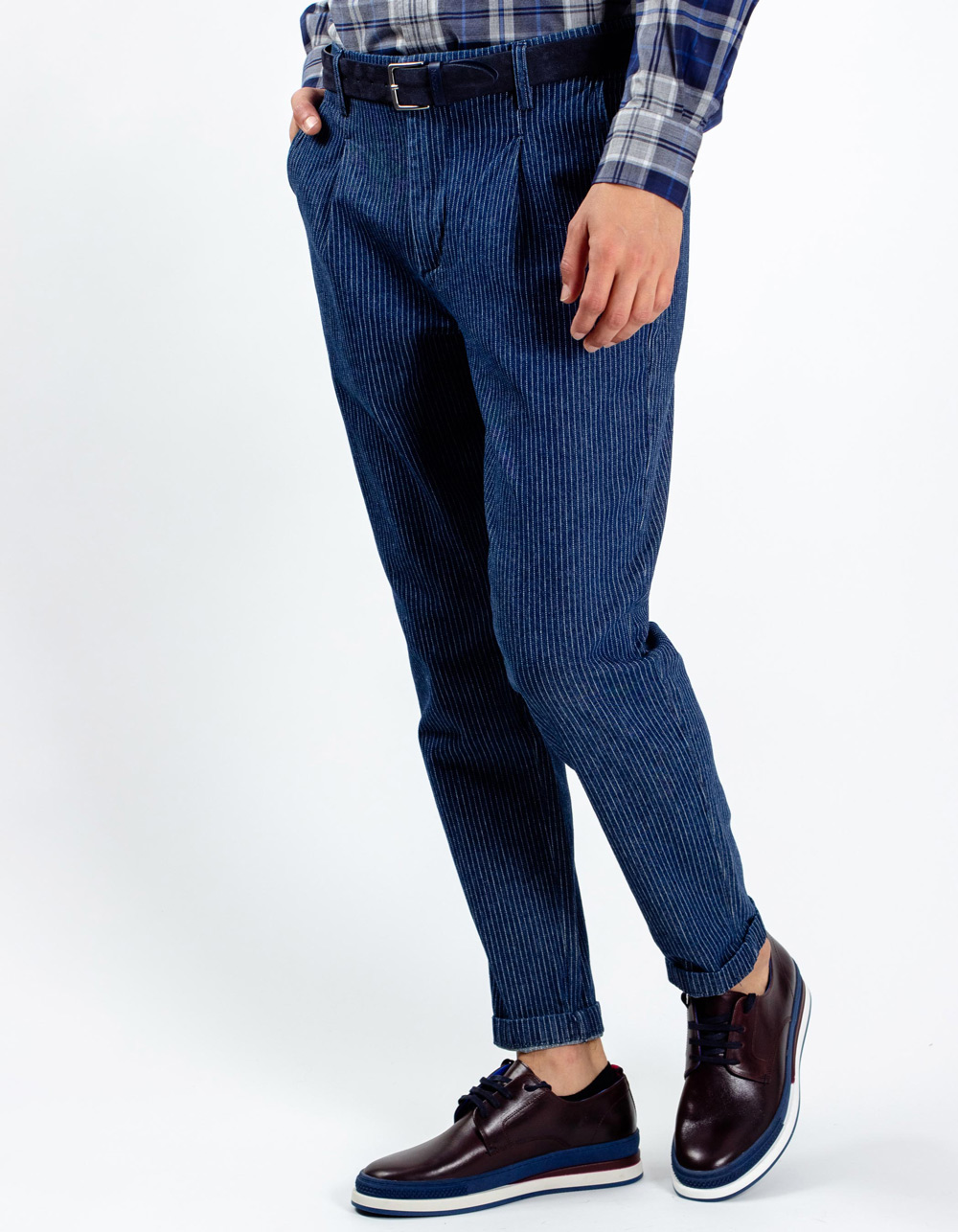 Navy blue stripes trousers