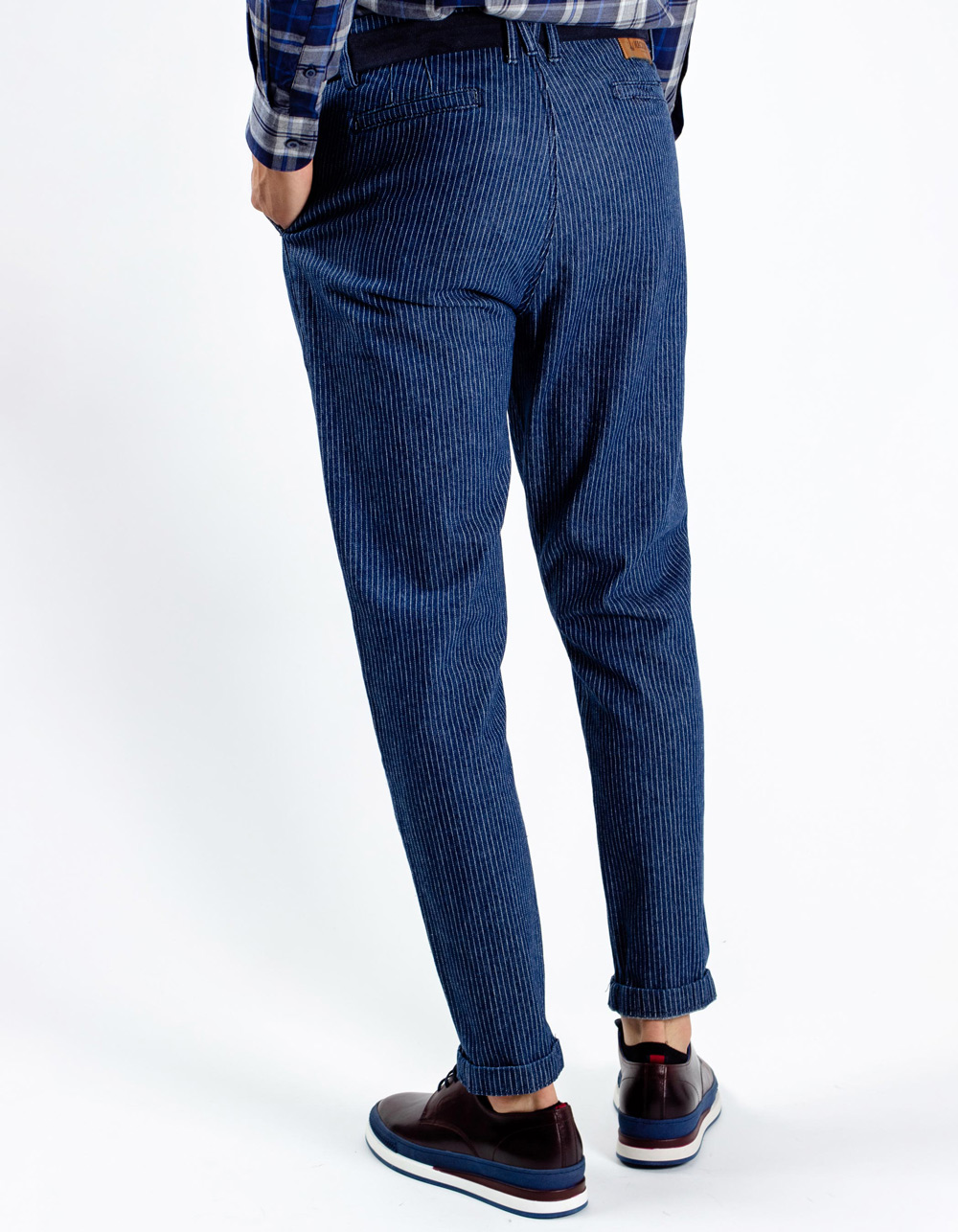 Navy blue stripes trousers - Backside