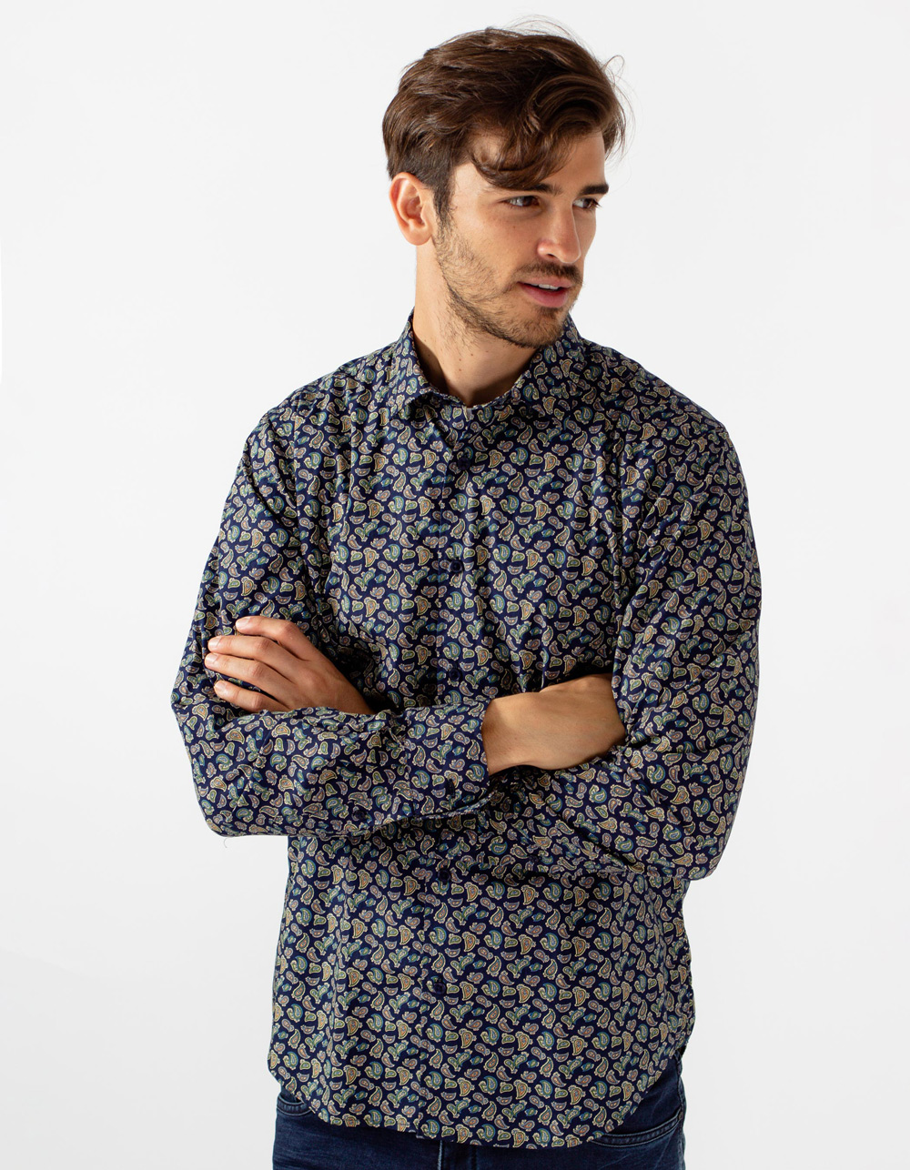 Printed shirt with cashmere pattern