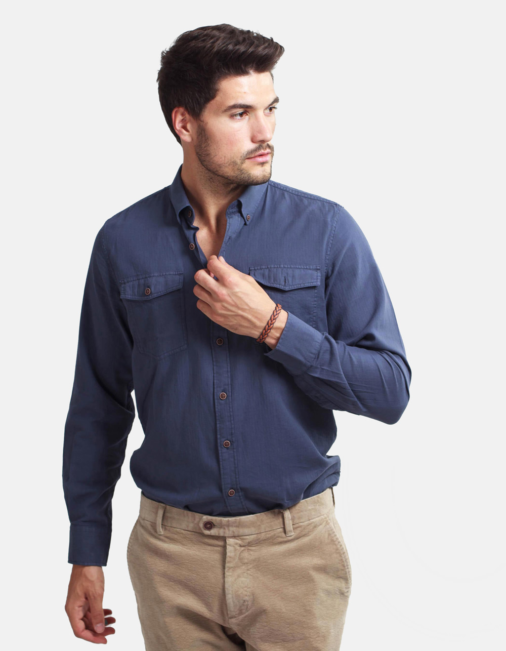 Dark blue herringbone shirt