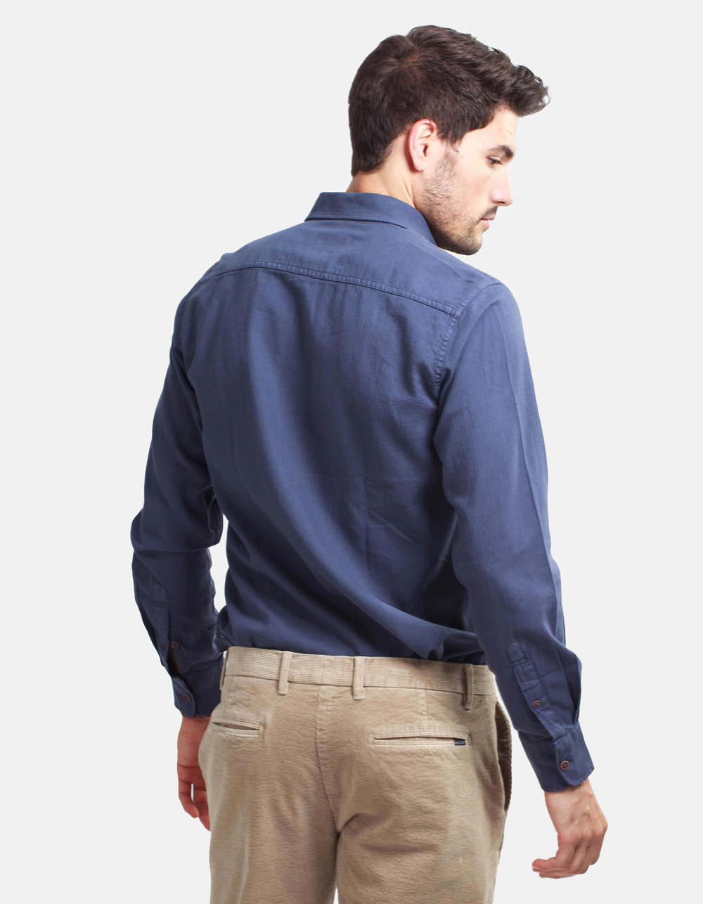 Dark blue herringbone shirt - Backside