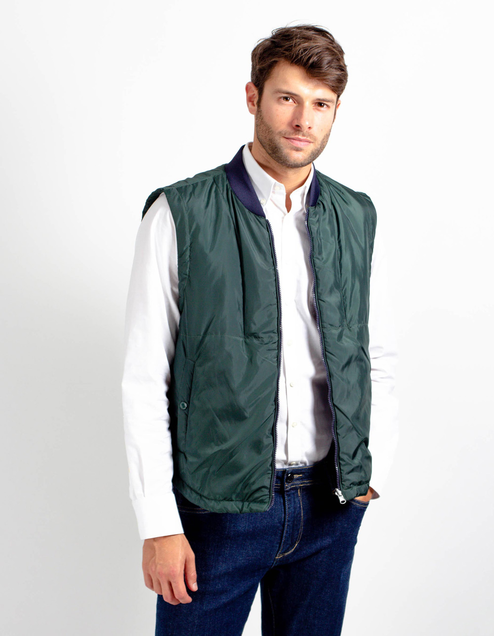 Dark green quilted vest