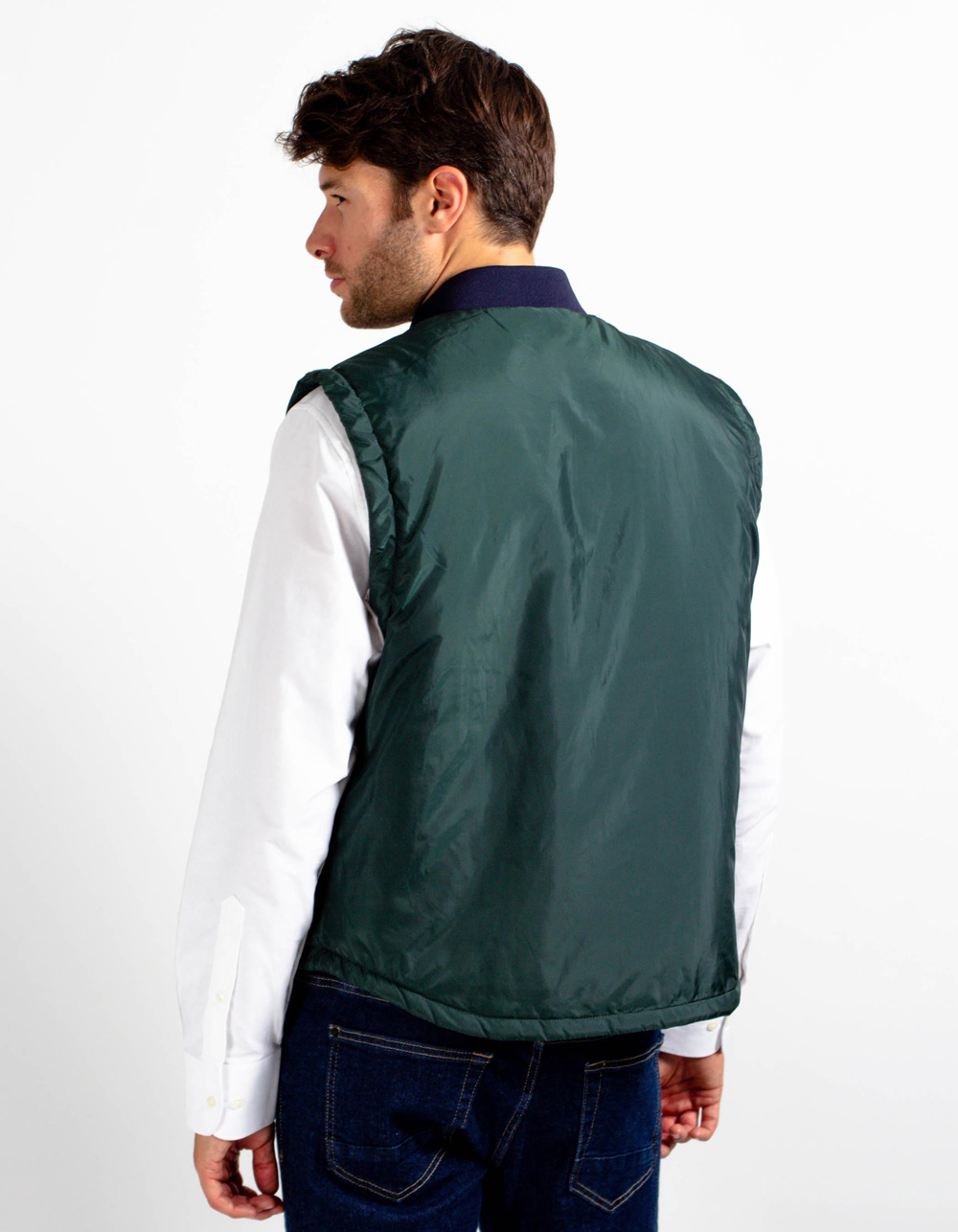 Dark green quilted vest - Backside