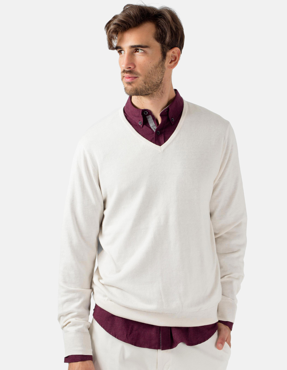 Bone v-neck sweater