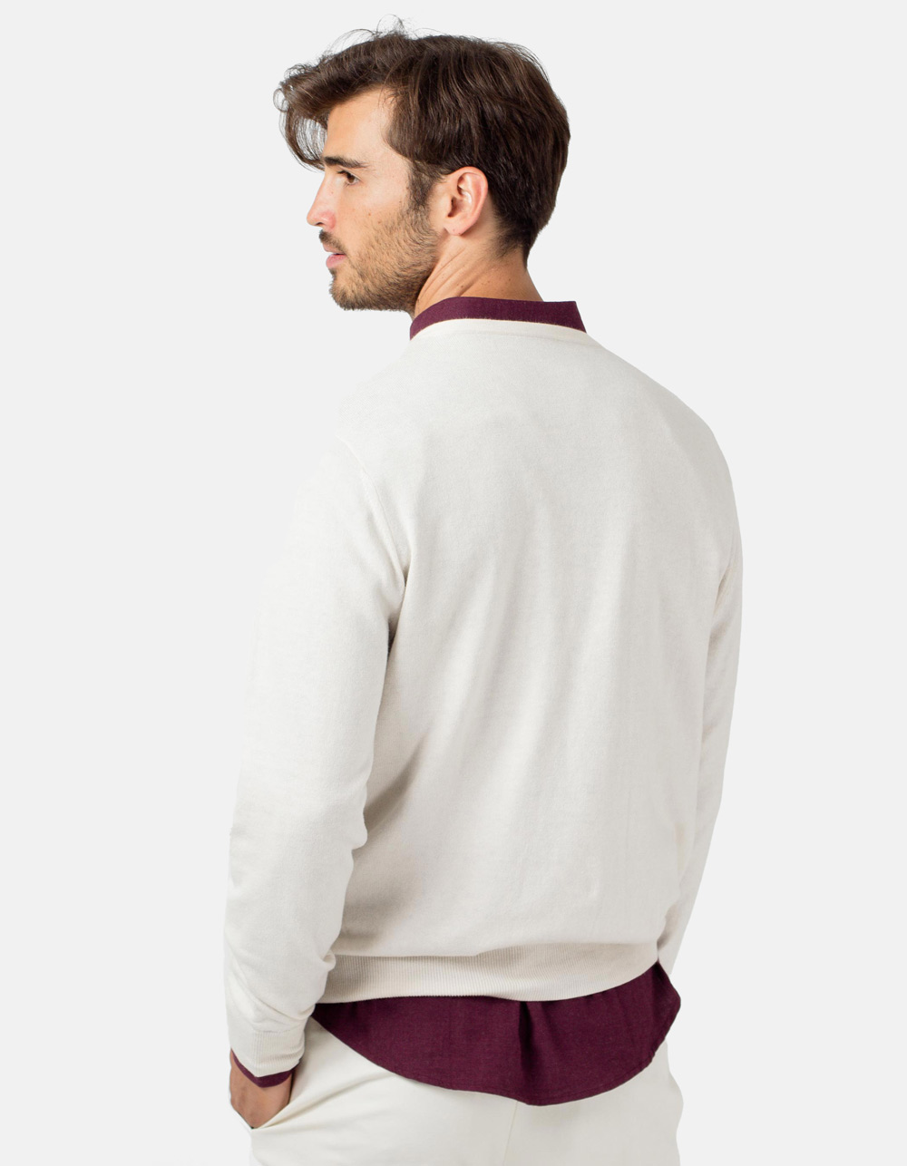 Jersey de cuello pico hueso - Backside