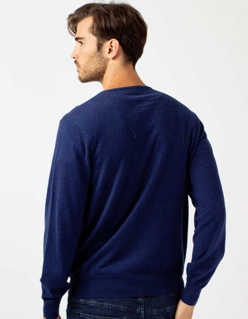 Jersey de cuello pico azul marino - Backside