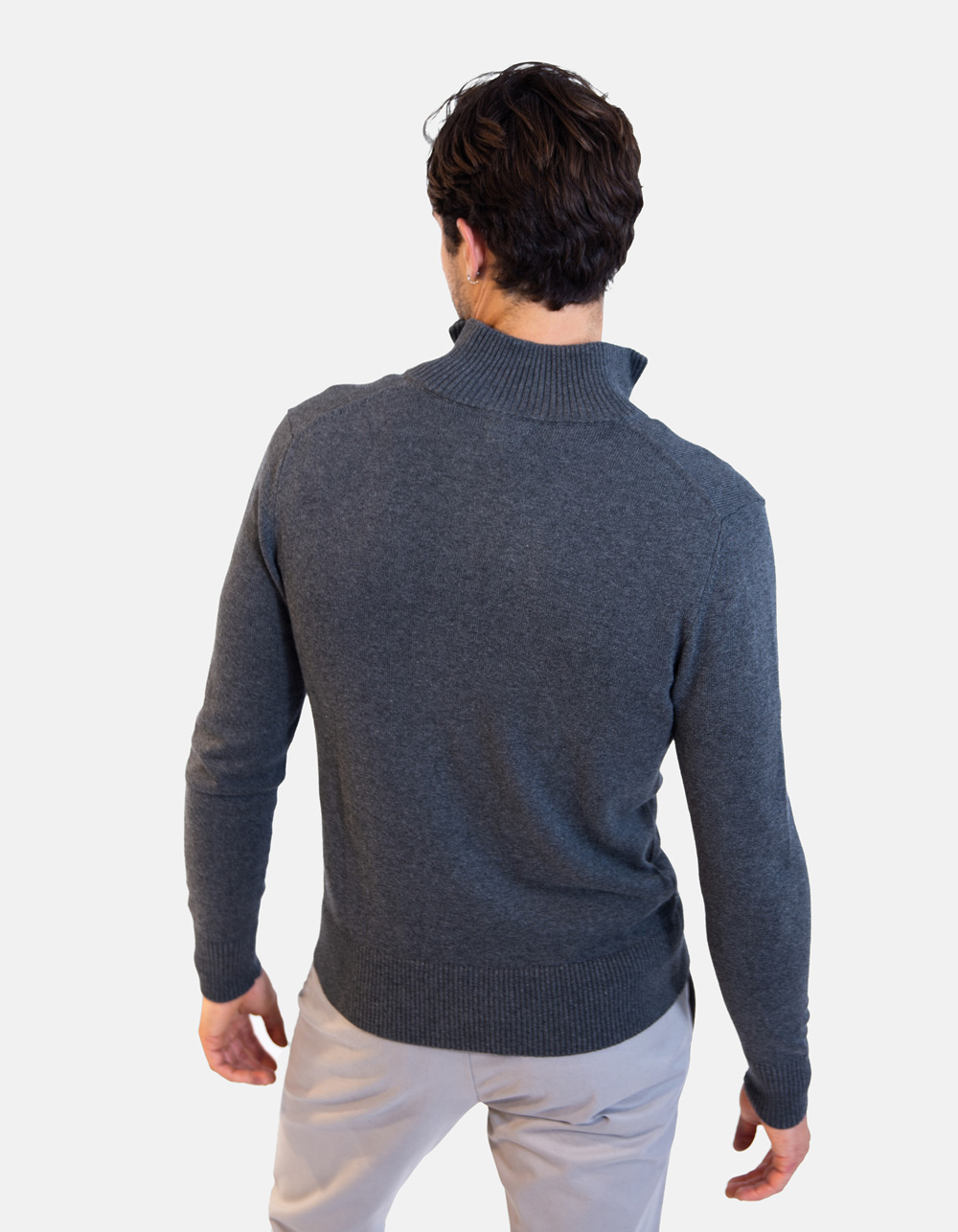 Chaqueta gris con cremallera - Backside