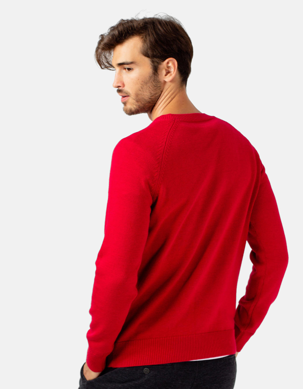 Red crew neck sweater - Backside