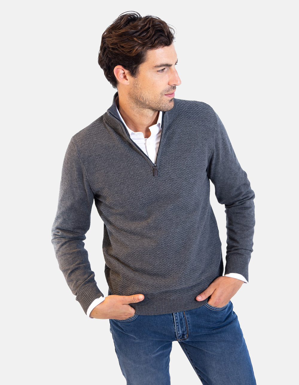 Grey neck sweater with zip