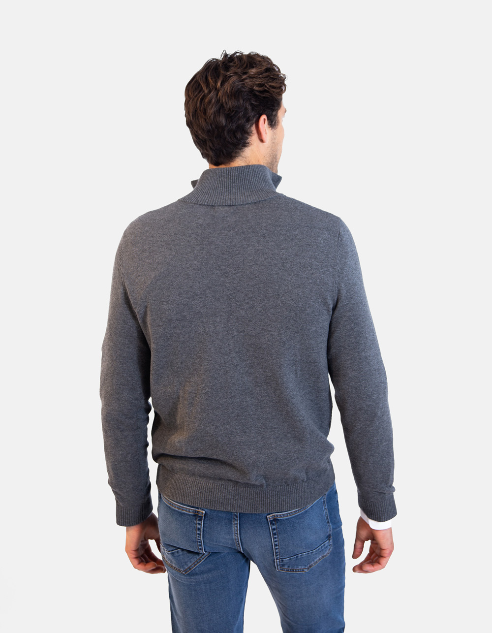 Grey neck sweater with zip - Backside