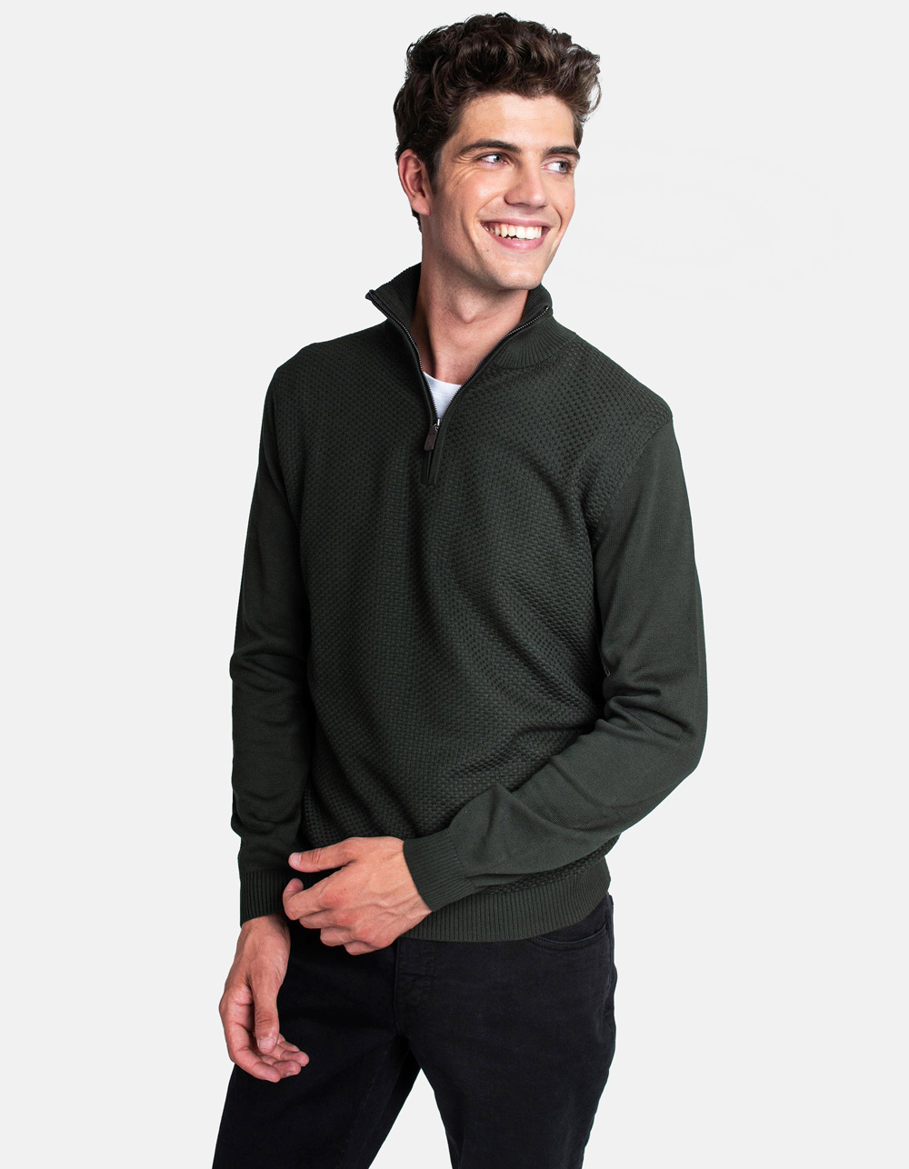 Dark green neck sweater with zip