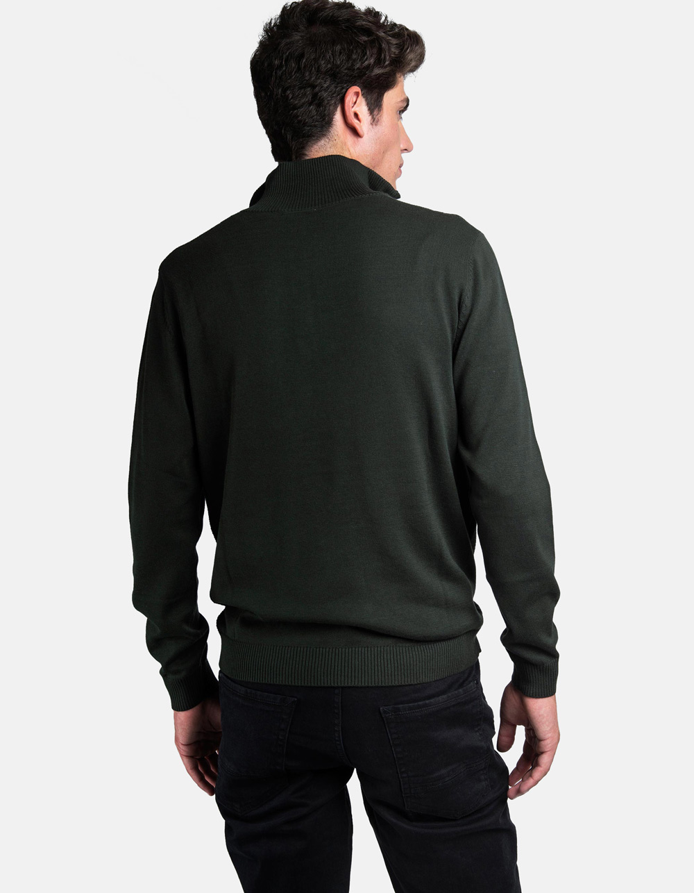 Dark green neck sweater with zip - Backside