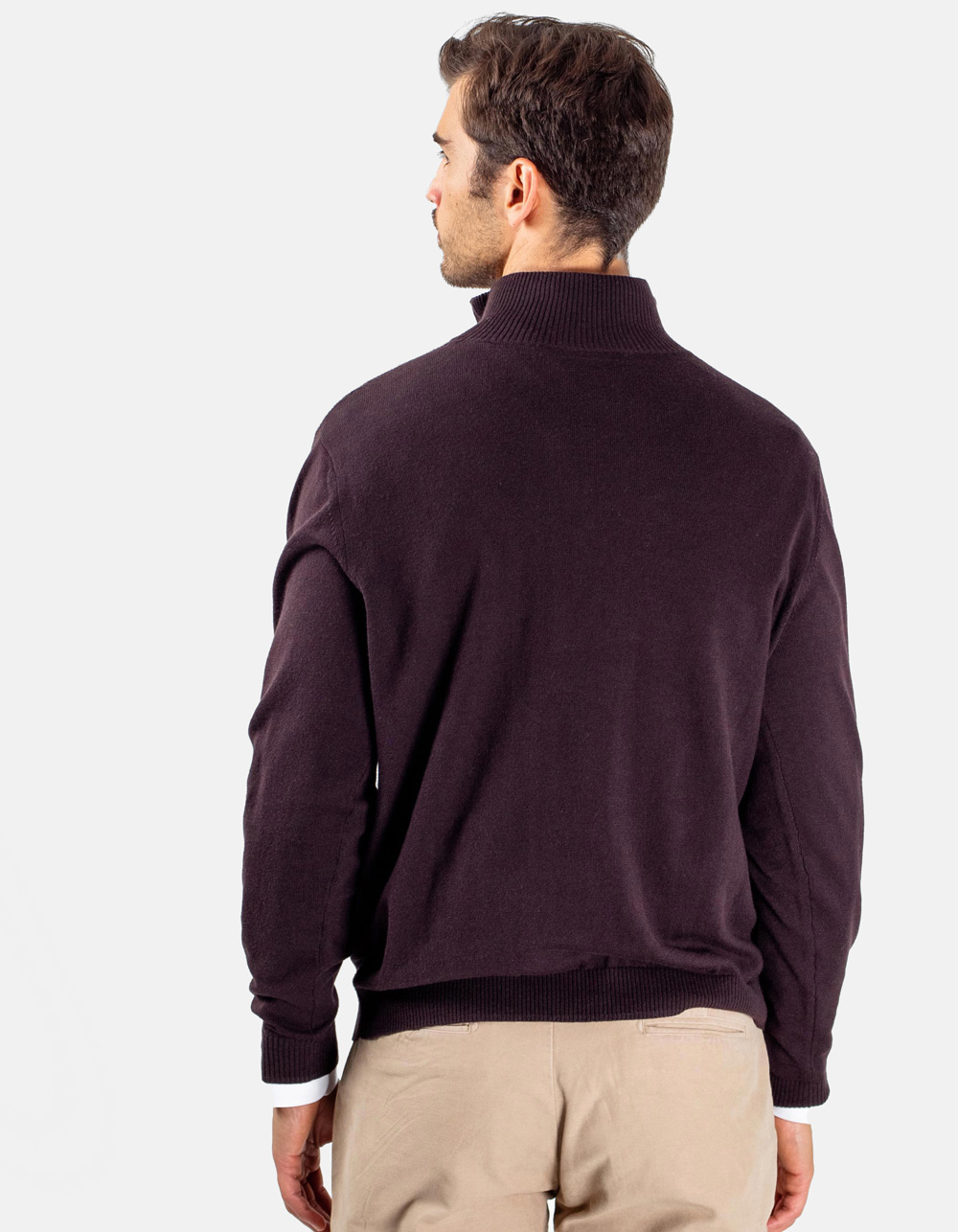 Dark Brown neck sweater with zip - Backside