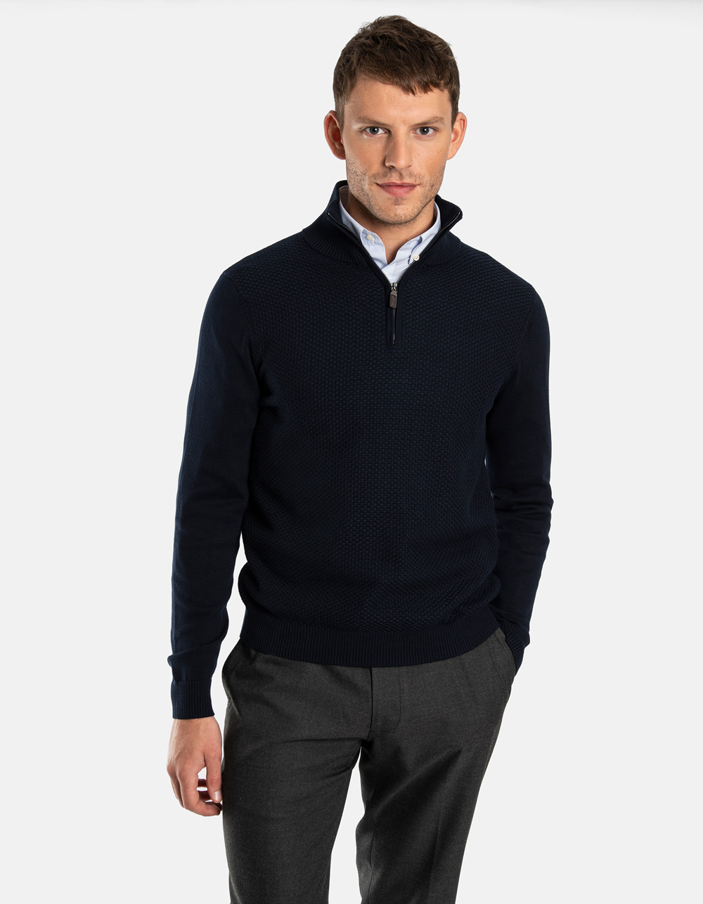 Dark Navy neck sweater with zip