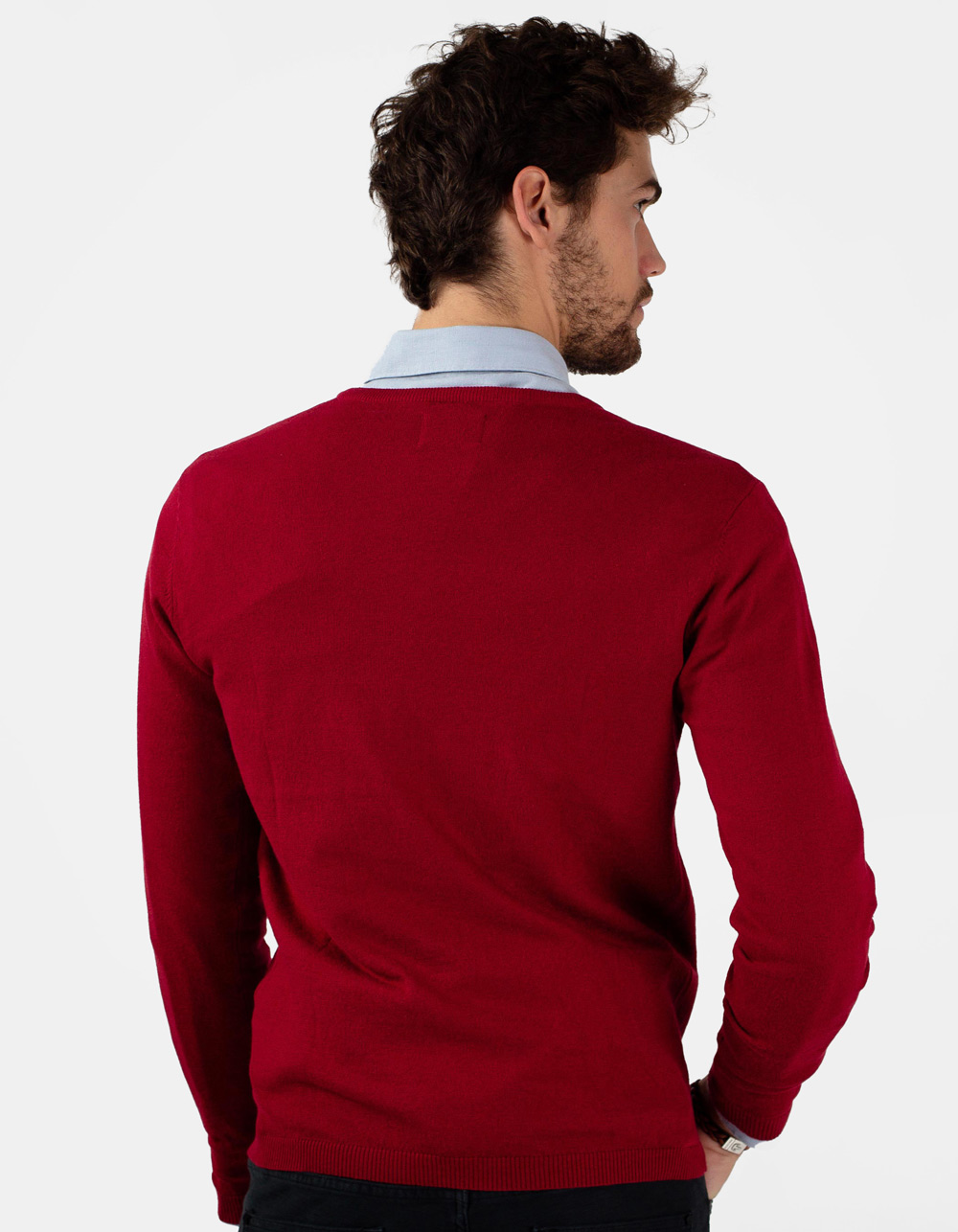 Jersey de cuello pico granate - Backside