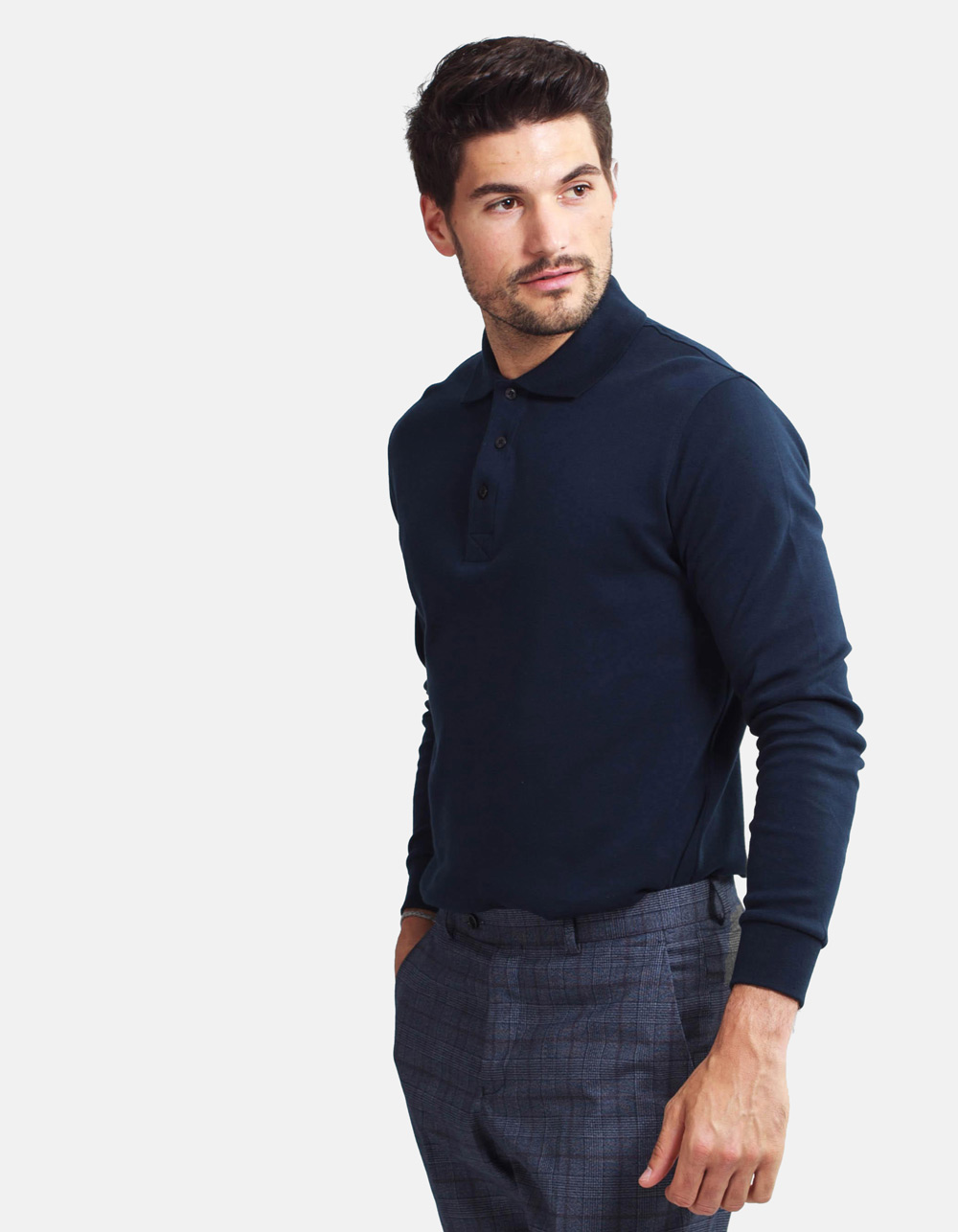 Dark blue washed polo shirt