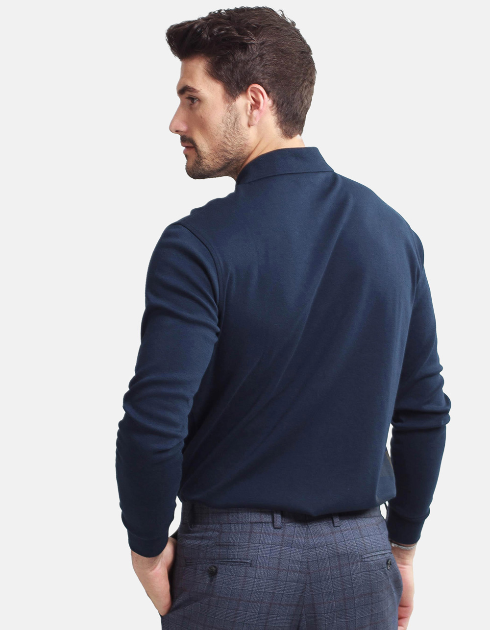 Dark blue washed polo shirt - Backside