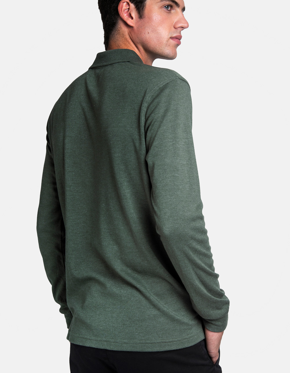 Green washed polo shirt - Backside