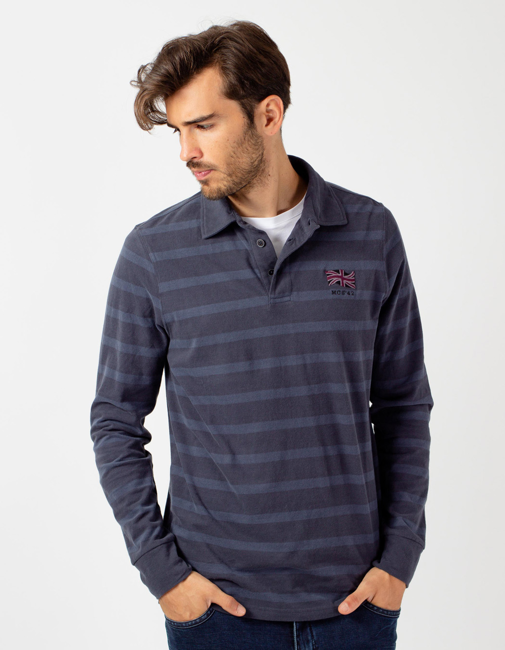 Navy blue striped long sleeve polo