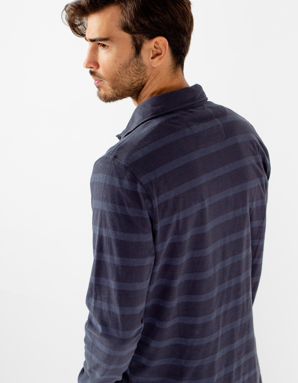 Navy blue striped long sleeve polo - Backside