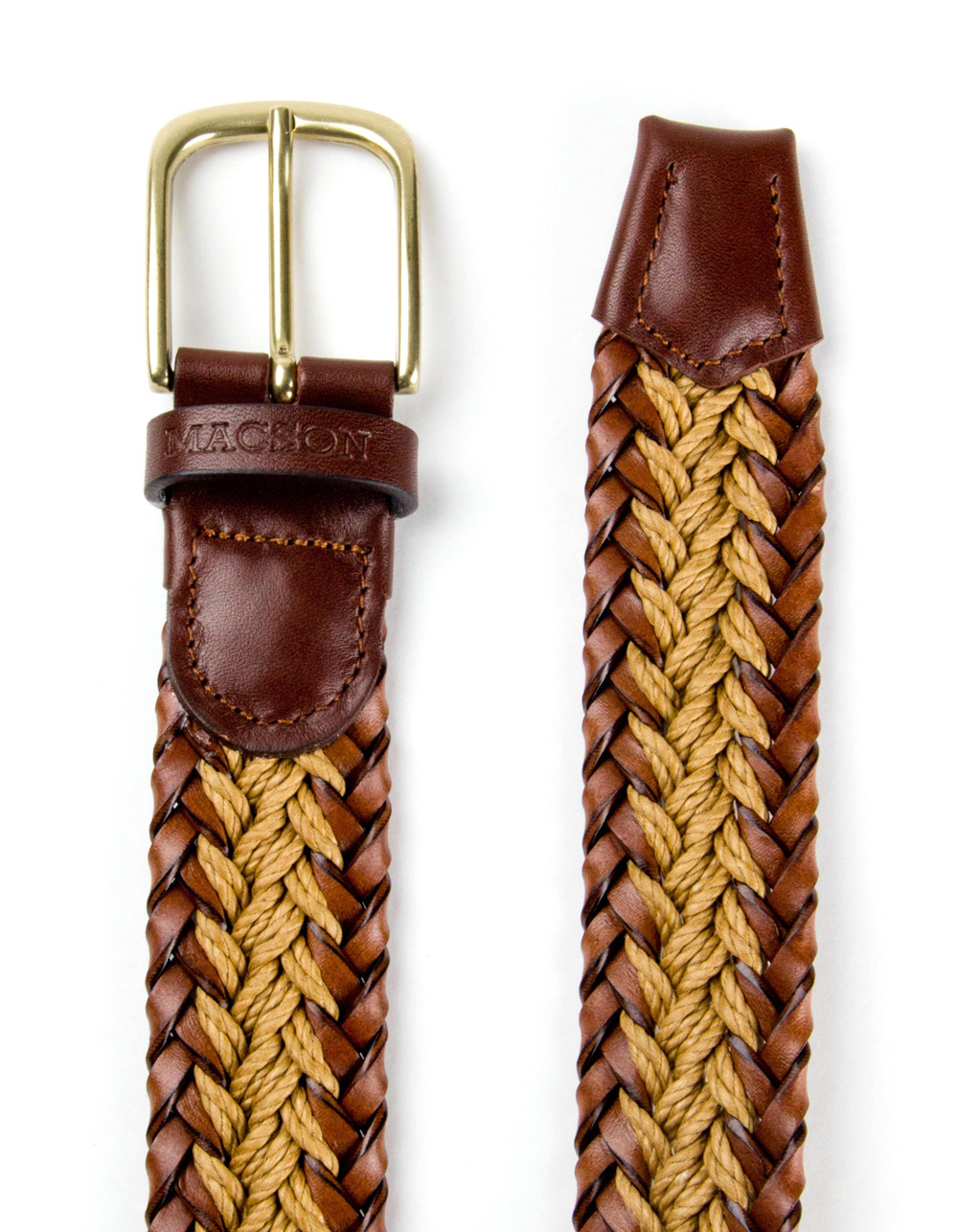 Brown braided leather belt - Backside