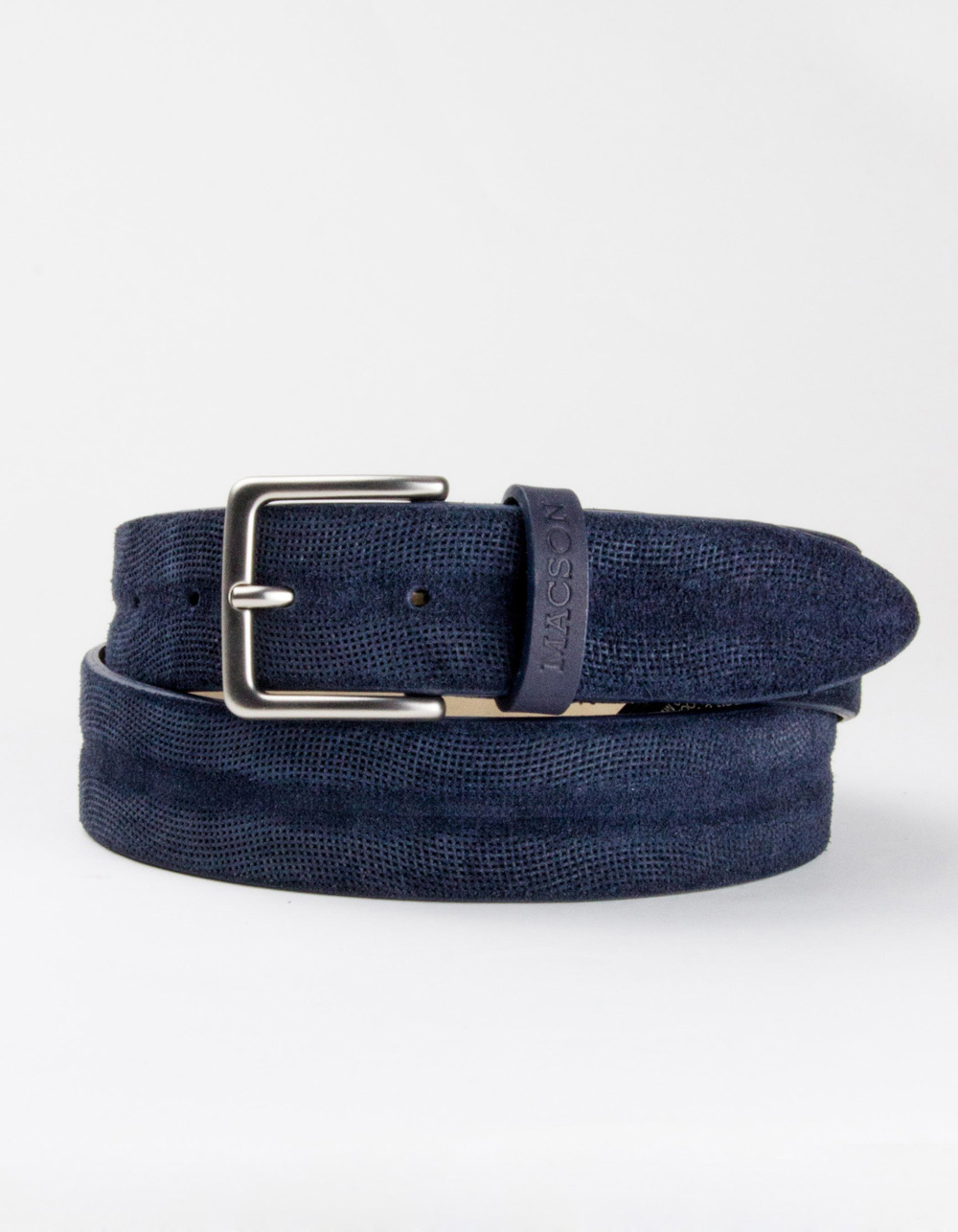 Blue structured leather belt