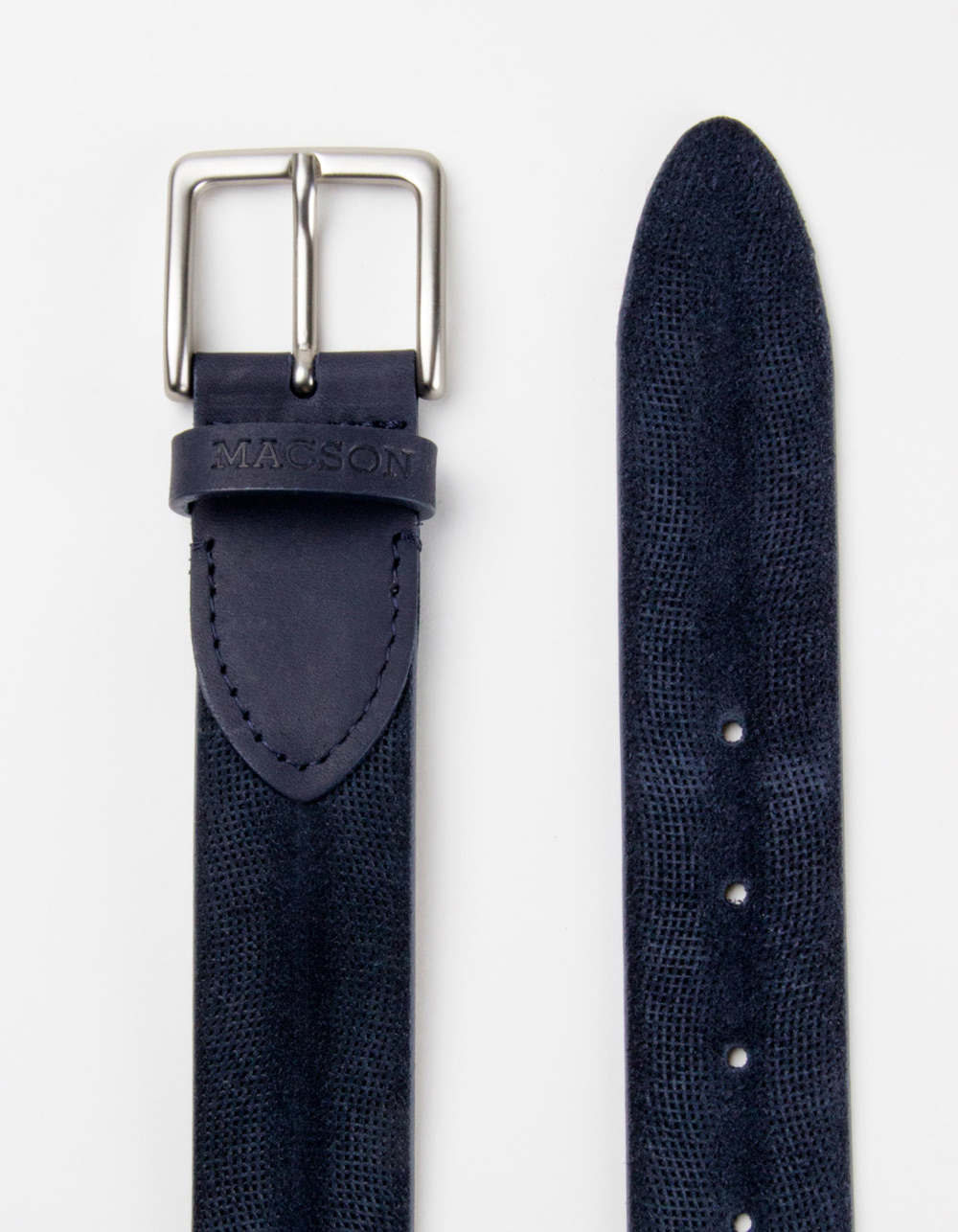 Blue structured leather belt - Backside