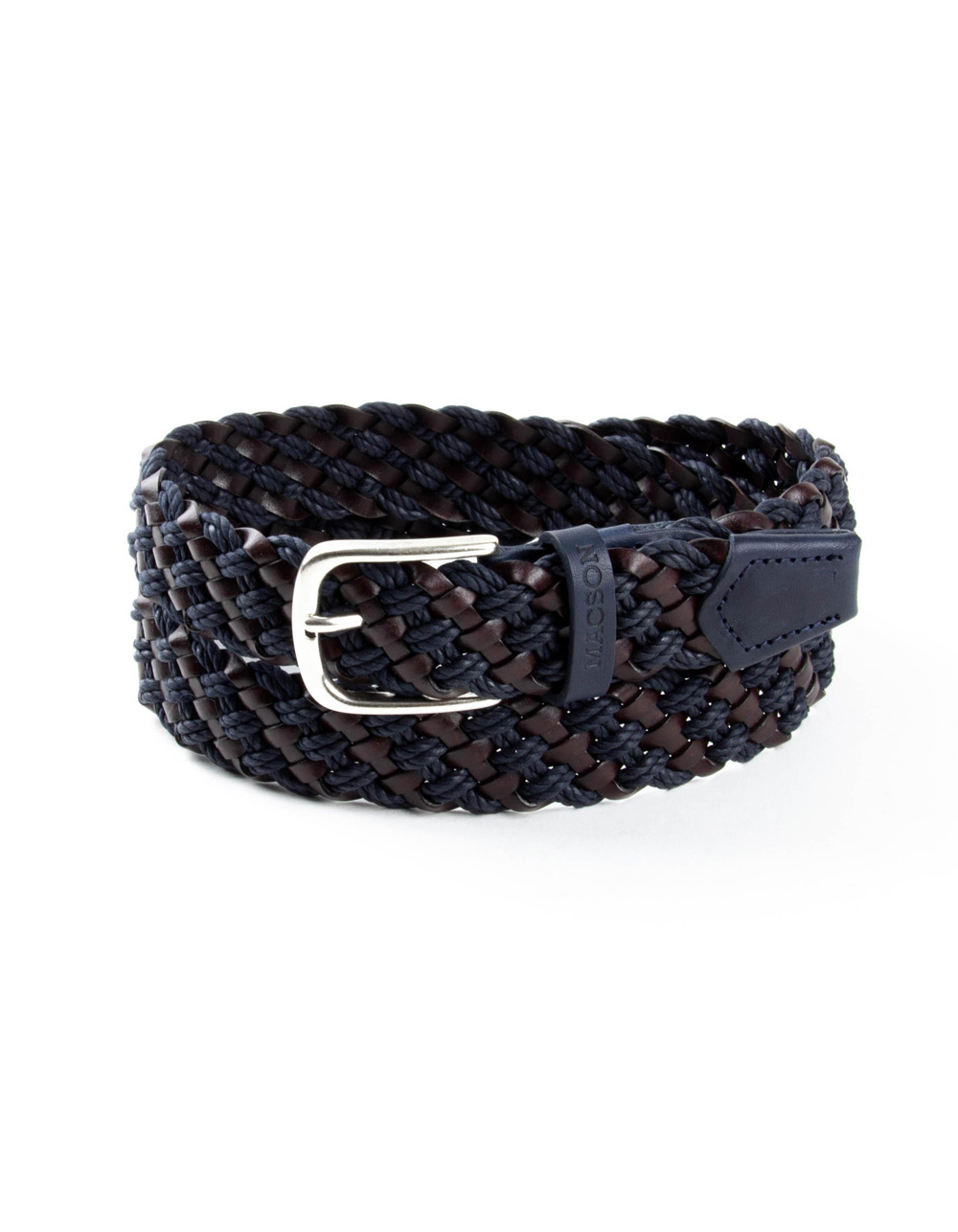 Navy blue and brown braided belt
