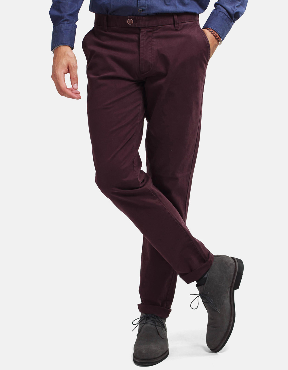 Burgundy chinos trousers