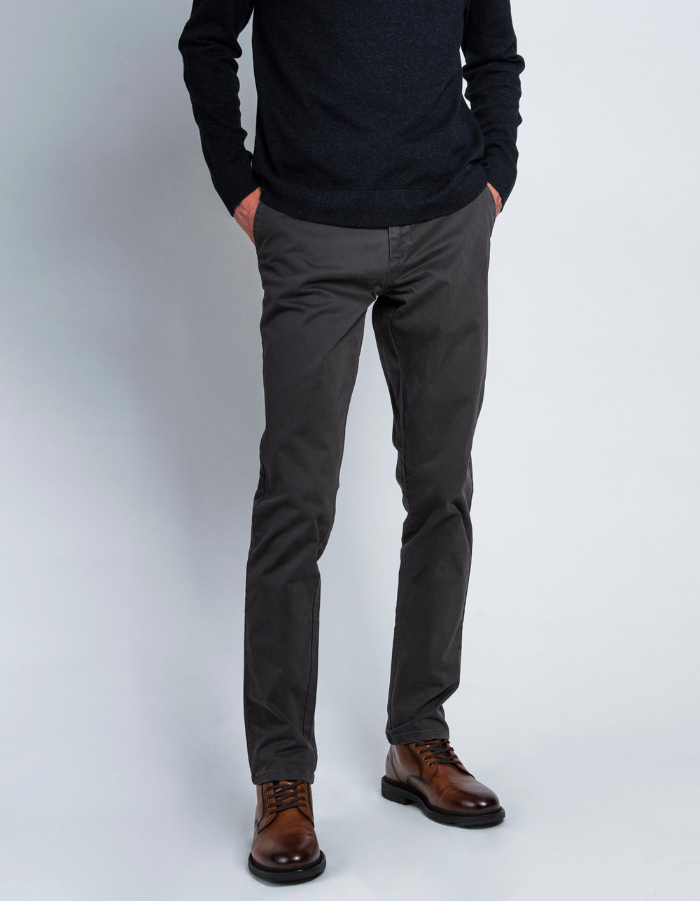Dark grey micro-structure trousers