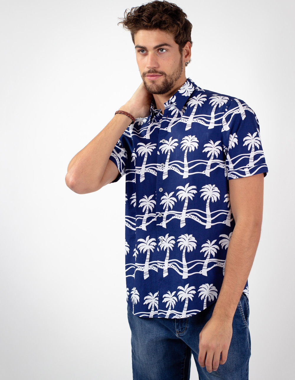 Navy shirt, white palm trees print