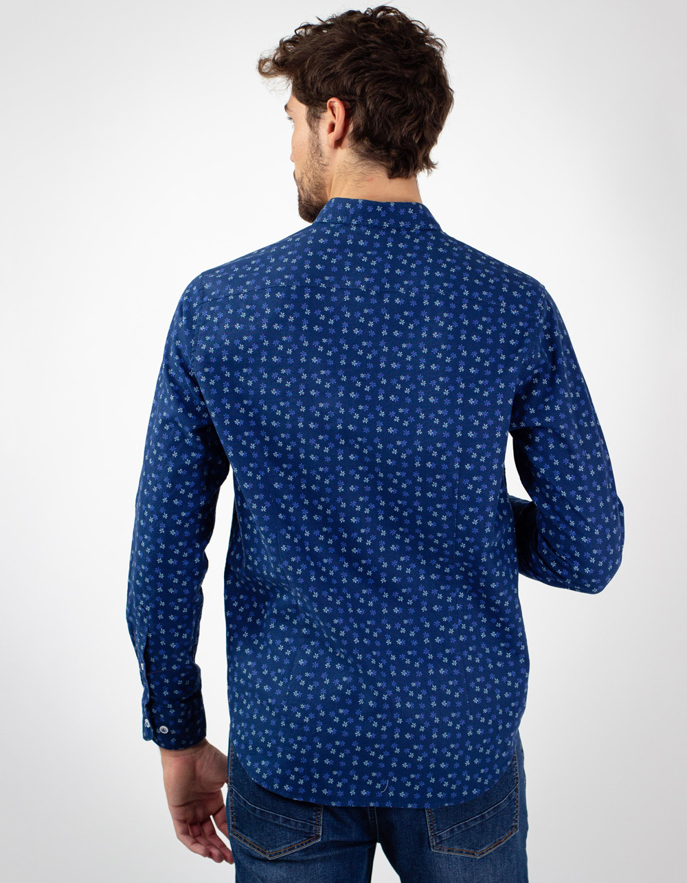Camisa marino estampada flores azules - Backside