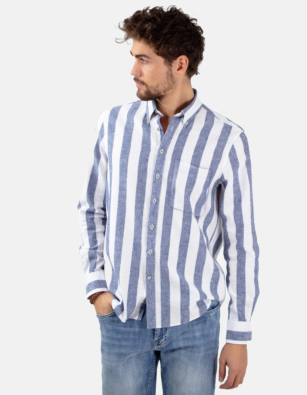 White blue striped shirt