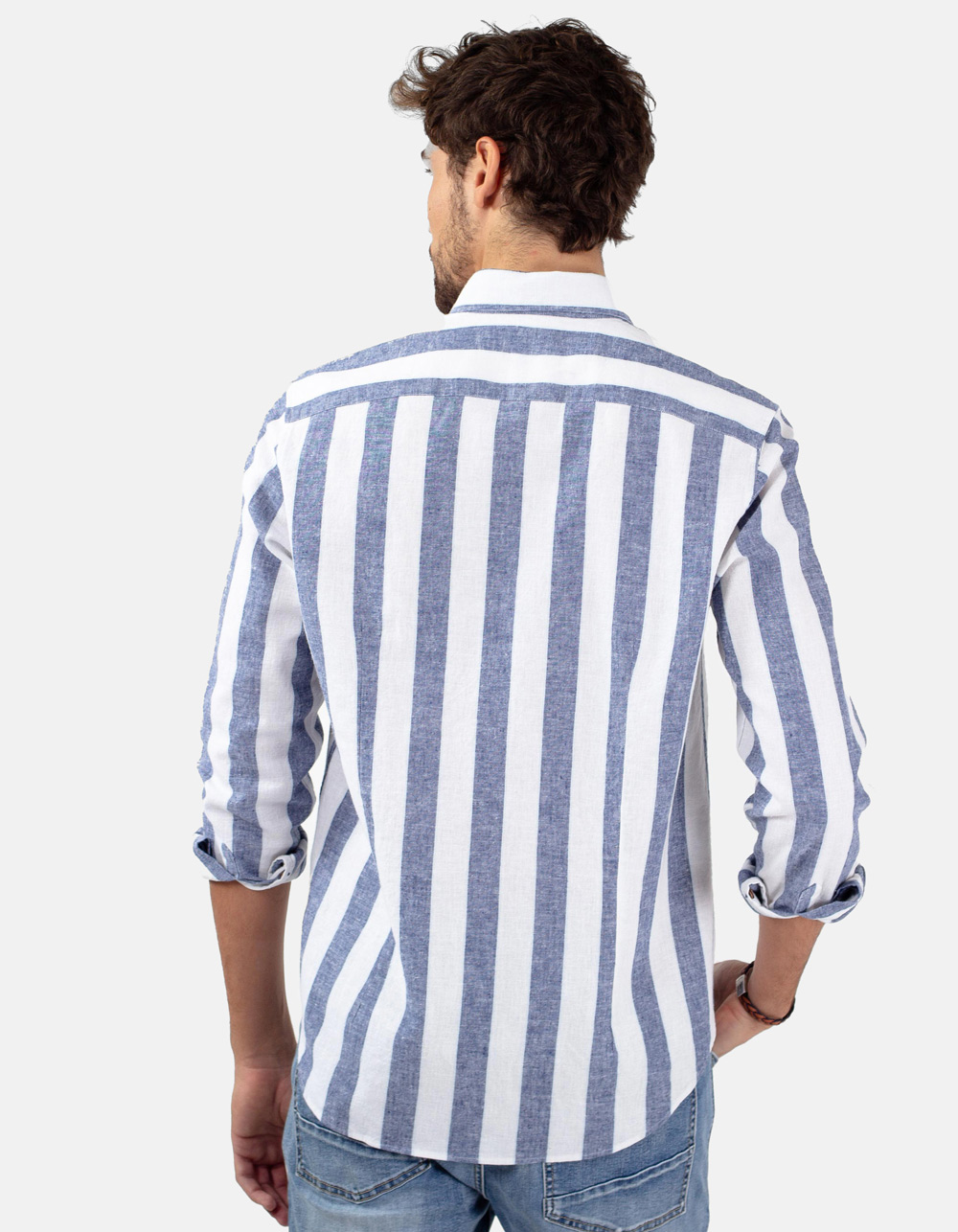 Camisa rayas azul blanca - Backside