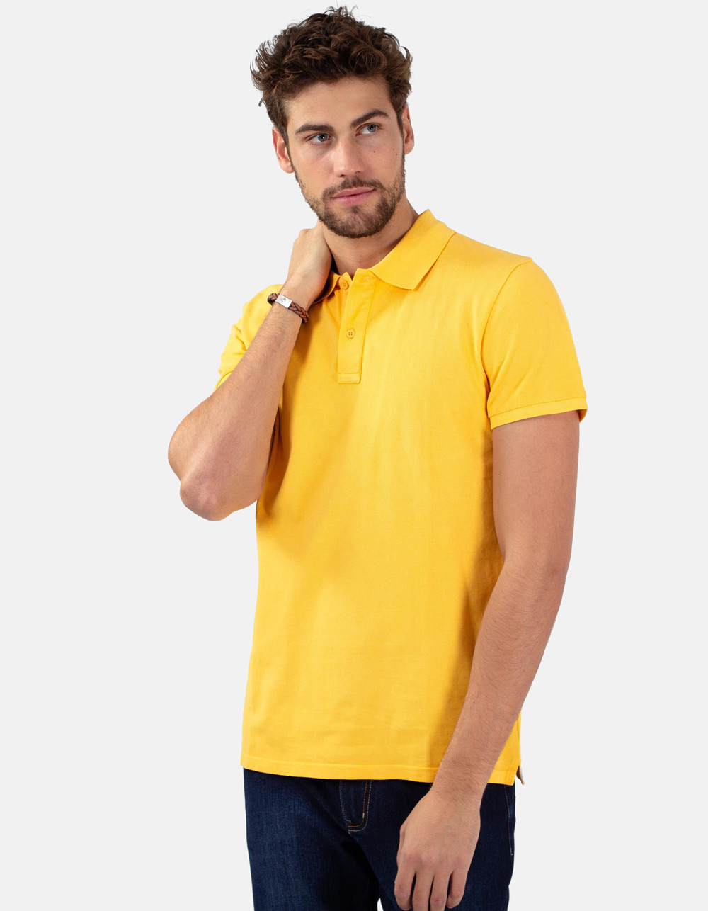Gold basic piqué polo shirt