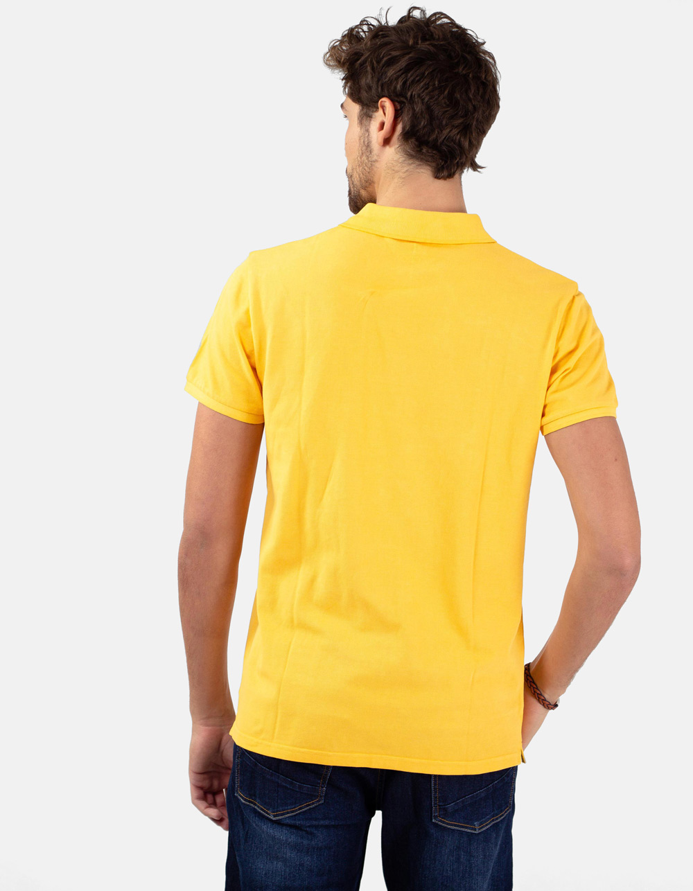 Gold basic piqué polo shirt - Backside
