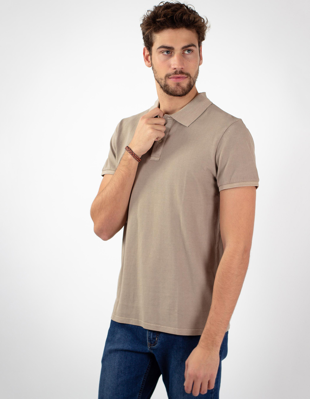 Beige basic piqué polo shirt