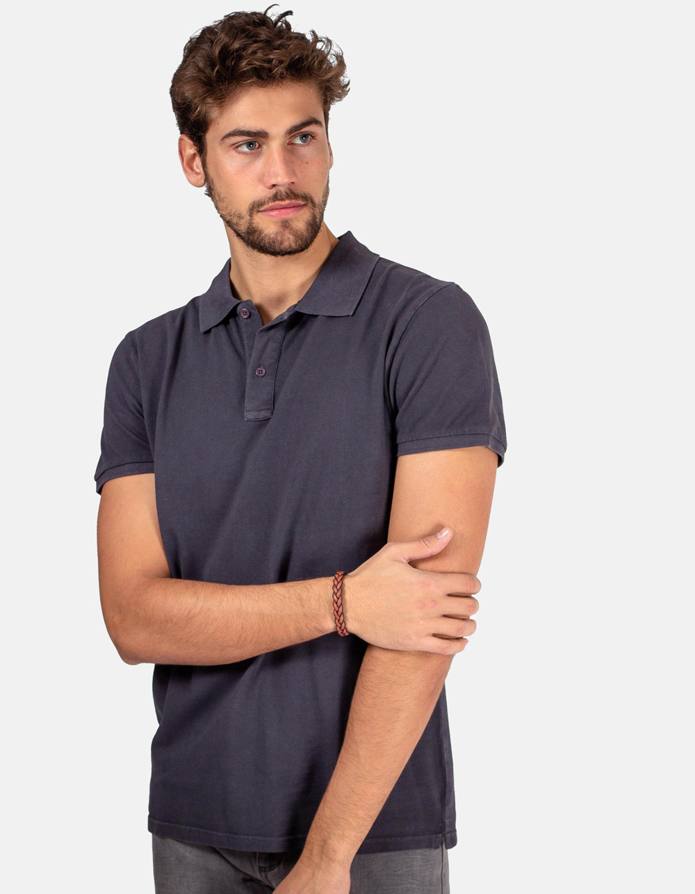 Dark grey basic piqué polo shirt