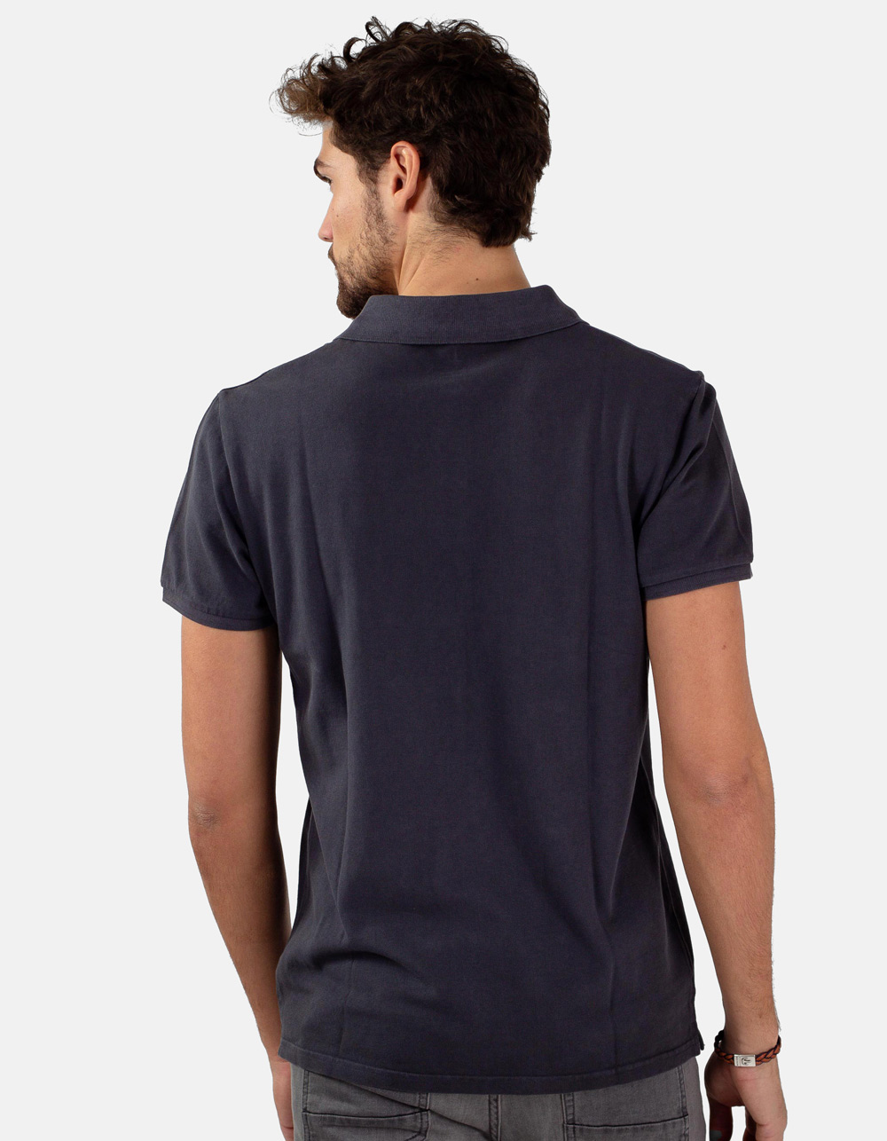 Dark grey basic piqué polo shirt - Backside