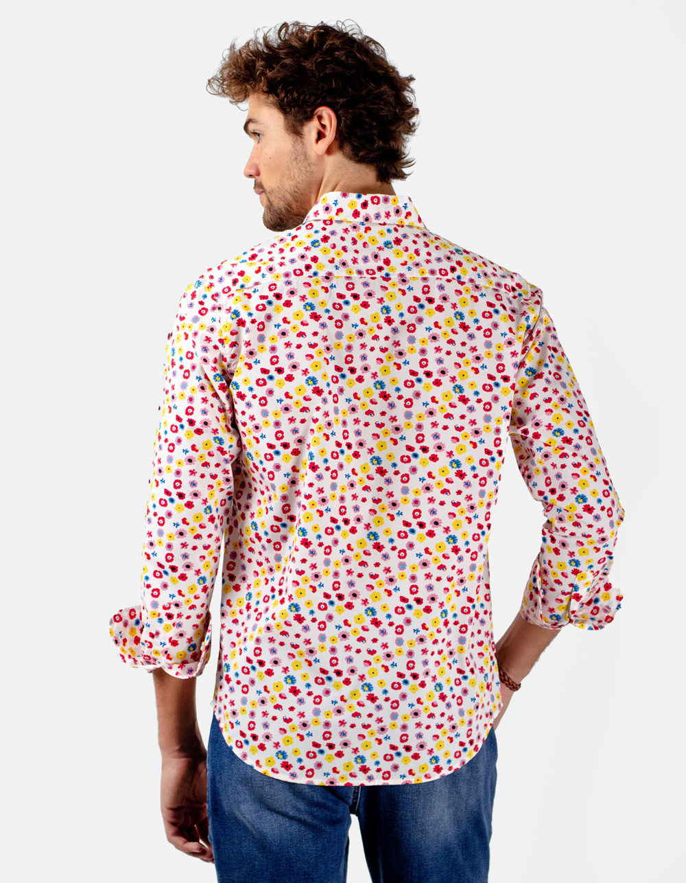 Camisa blanca estampada flores - Backside